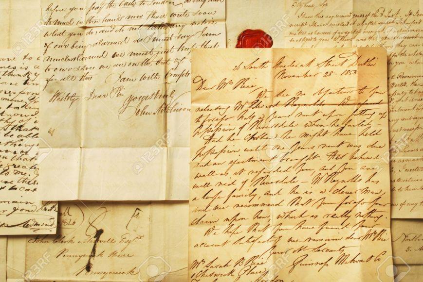 12124883-vieilles-lettres-d-39-information-écriture-élégante-Banque-d'images